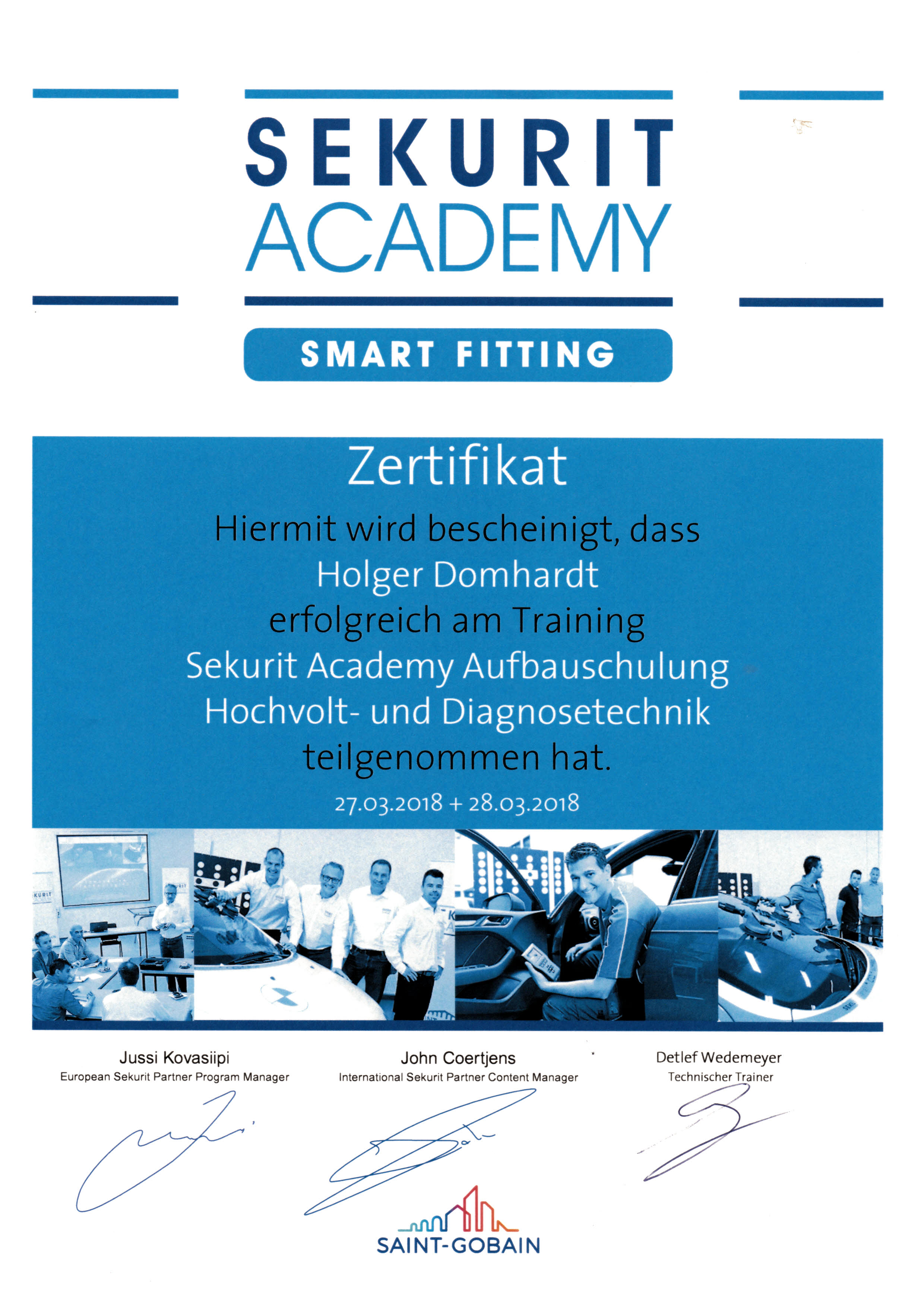 Zertifikat Sekurit Smart Fitting Hochvolt- und Diagnosetechnik